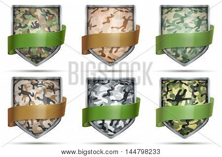 Set of Shields with Various Camouflage. Editable Vector Illustration isolated on white background.