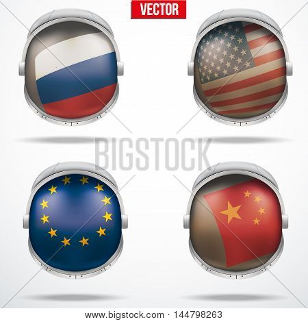 Set of Astronaut helmets with flags reflecting on visor glass. Vector Illustration Isolated on White Background