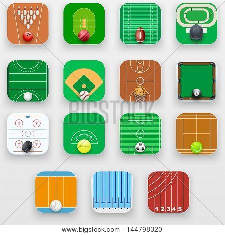 Set of Square icons with sports field end equipment. Vector Illustration isolated on background.