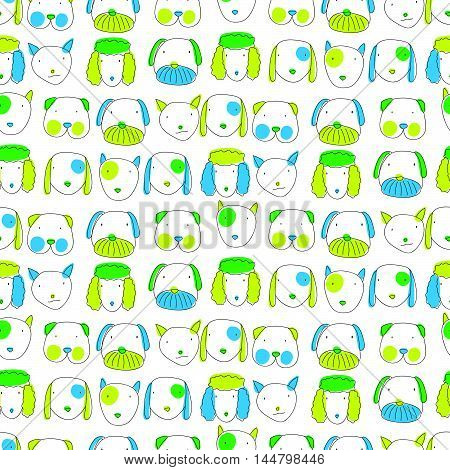 Seamless Pattern With Cute Different Kinds Of Dogs
