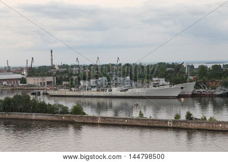 legendary Aurora revolution time russian military ship having reconstruction works in Kronstadt