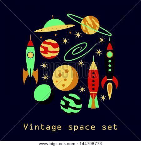 Vintage rocket space set on black background. Vector illustration