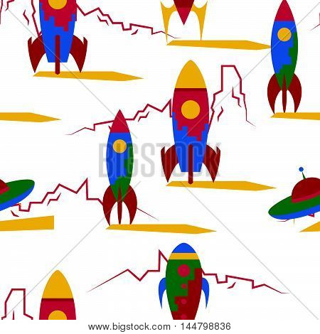 Seamless Pattern With Vintage Rockets In Space