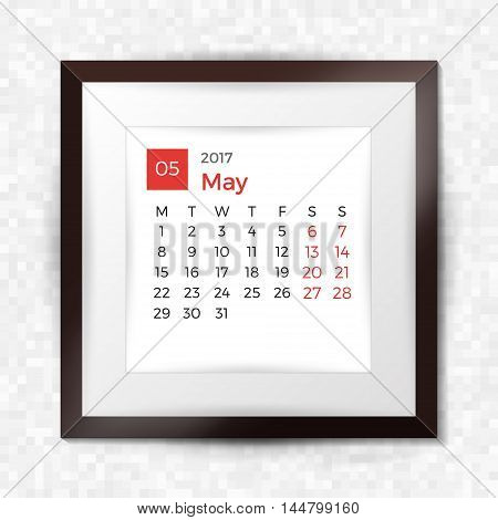 Realistic Square Picture Frame With Calendar For May 2017. Isolated On Pixel Background. Vector Illu
