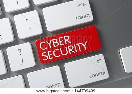 Cyber Security Concept Modernized Keyboard with Cyber Security on Red Enter Key Background, Selected Focus. 3D Render.