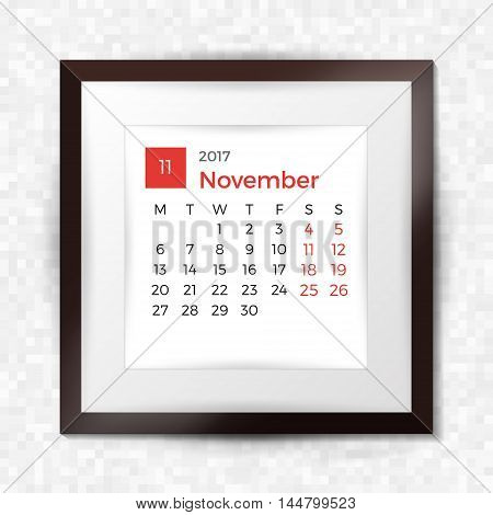 Realistic Square Picture Frame With Calendar For November 2017. Isolated On Pixel Background. Vector