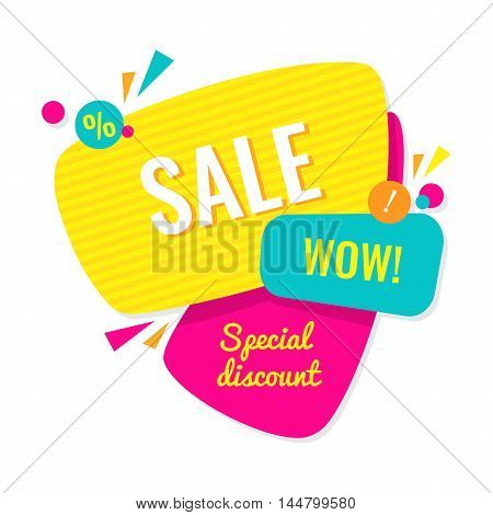 Advertising banner. Sale wow. Special discount. Colorful vector illustration