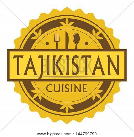 Abstract stamp or label with the text Tajikistan Cuisine written inside, traditional vintage food label, with spoon, fork, knife symbols, vector illustration