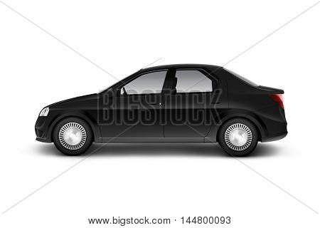 Blank black car design mockup isolated side view clipping path 3d illustration. Clear auto body mock up profile. Plain vechicle branding template. Sedan motor car presentation. Simple city machine