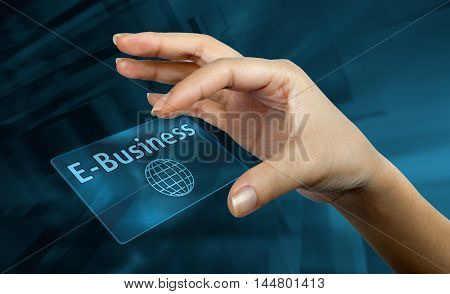 a digital card with the word e-business