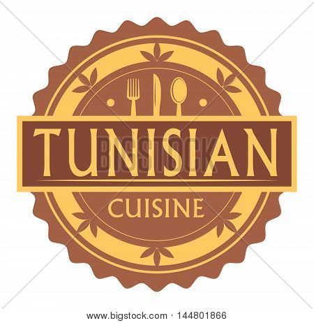 Abstract stamp or label with the text tunisian Cuisine written inside, traditional vintage food label, with spoon, fork, knife symbols, vector illustration