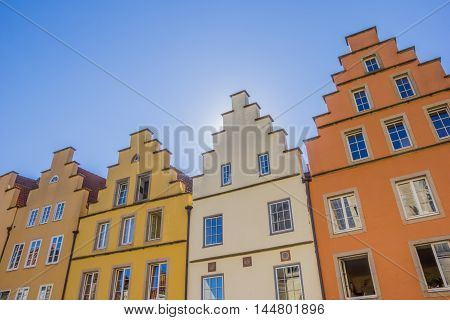 Colorful Houses At The Central Market Square In Osnabruck