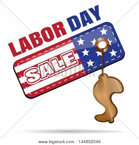 Labor Day Sale. Tag with gold trinkets in the shape of a dollar. Vector illustration isolated on white background