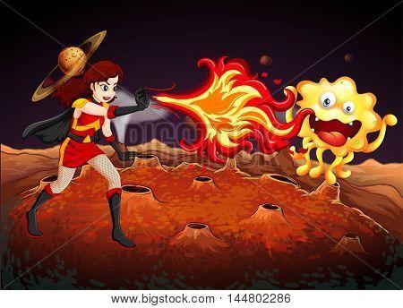 Superhero fighting alien on planet illustration