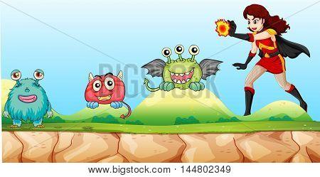 Superhero fighting monsters in the park illustration