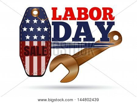 Labor Day. Sales tag and golden wrench. Vector illustration