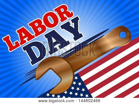 Labor Day design. Golden wrench on the background of the USA flag. Vector illustration