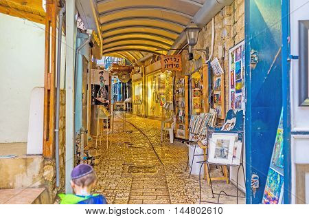 SAFED ISRAEL - FEBRUARY 22 2016: The souvenir stalls in Gallery Street is the best place to choose the presents from Safed on February 22 in Safed.