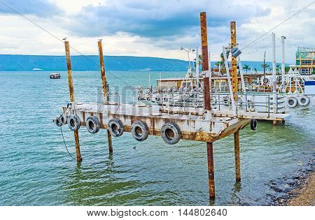 The old shipyards for the pleasure boats at the central promenade of Tiberias Israel.