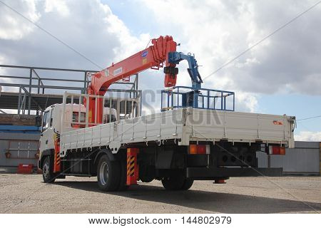 Great Truck Crane Standing On A Construction Site - Russia, Crimea - May 14, 2016
