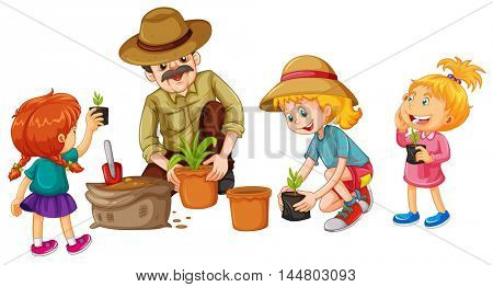 Girls and father planting tree illustration