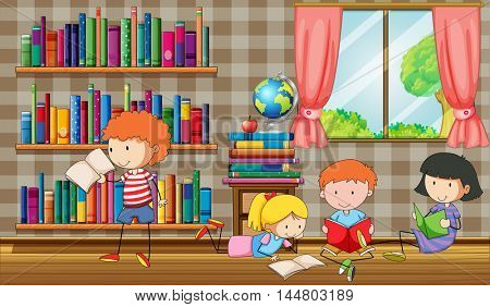 Kids reading books in the library illustration