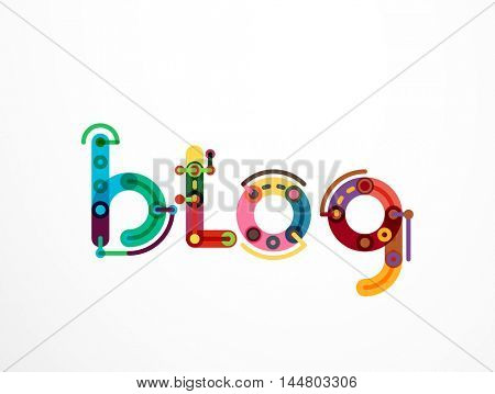 Blog word lettering banner, created with connected colorful lines. Mobile app, web design or business presentation element
