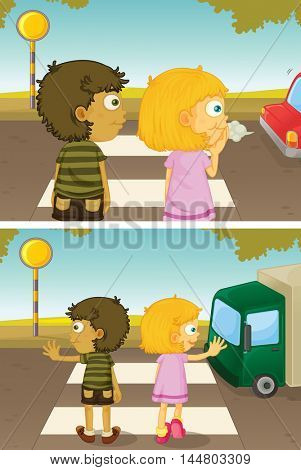 Boy and girl crossing road illustration