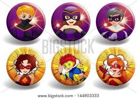 Superhero on round badges illustration