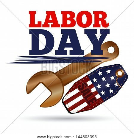 Labor Day Sale design. Vector illustration isolated on white background
