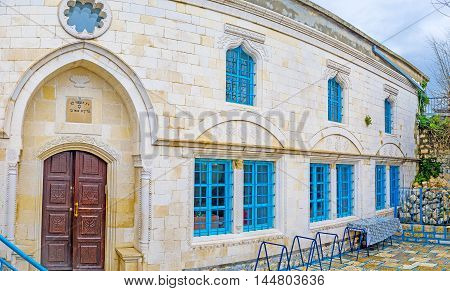 The beautiful medieval Abuhav Synagogue located in the old town of Safed Israel.