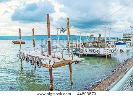 The old rusty shipyards at the bank of Kinneret Lake Tiberias Israel.