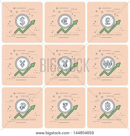 Set Of Coins And Finance Graph, Currency Rising, Dollar, Euro, Pound Sterling,