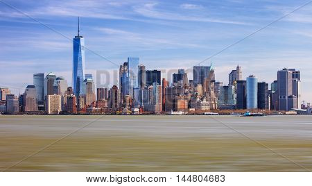 The Freedom Tower and Lower Manhattan Skyline