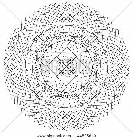 geometric pattern in black and white.  Page for coloring book