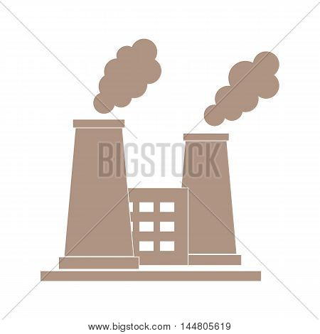 Stylized icon of the oil refinery plant with smoking chimneys on a white background