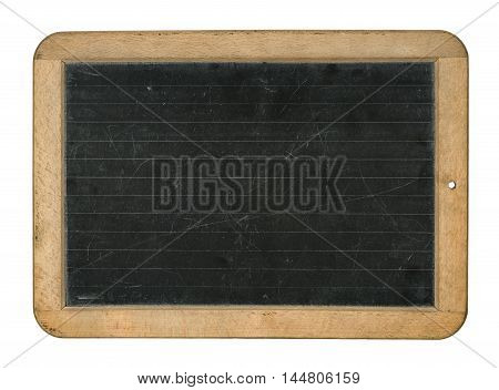 A lined chalkboard on a white background