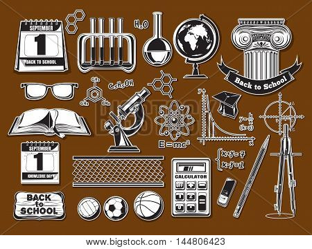 Set school and education icons stylized clippings from old newspapers. Back to school icons in a retro style. Vector illustration