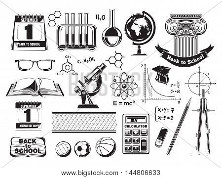 Set school and education icons. Black icons isolated on a white background. Vector illustration