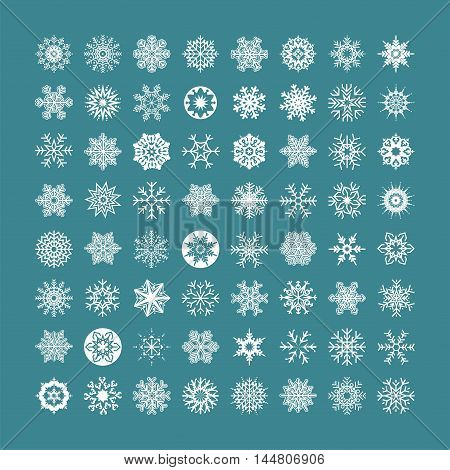 White snowflakes icon on a green background. Collection graphic art for your design Merry Christmas and Happy New Year