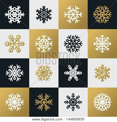 Set of square black and white snowflake icons isolated on white black and golden background. Design elements for your Christmas design.