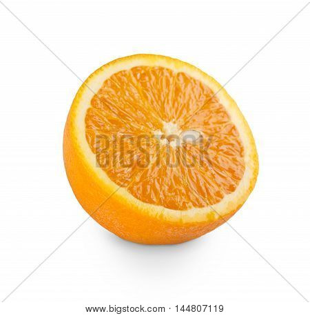 One fresh orange cut isolated on white background. Closeup image of ideal citrus fruit half, healthy natural organic food
