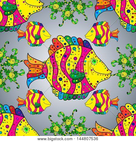 Blue round gradient background with yellow and pink fishes with doodles element. Vector.