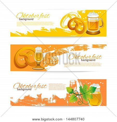 Banners of Oktoberfest beer design. Hand drawn illustrations. Splash blob backgrounds