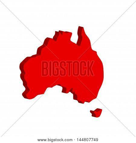 Australian continent. Bulk illustration on a white background