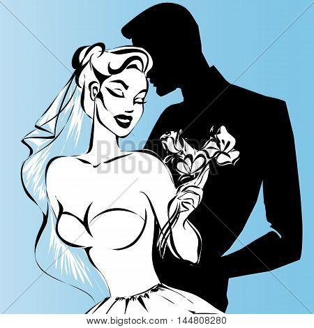Wedding Couple, Happy Bride And Groom, Monochrome Silhouette, Vector