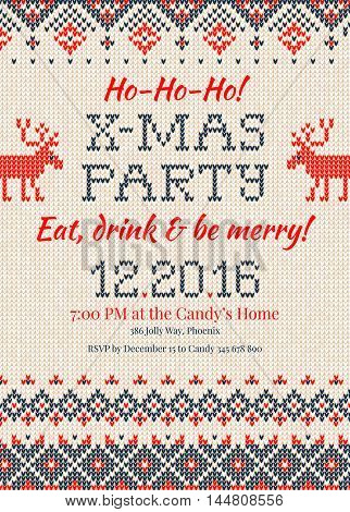 Knitted Invitation To The Christmas X-mas Party.handmade Knitting Abstract Background Pattern With T