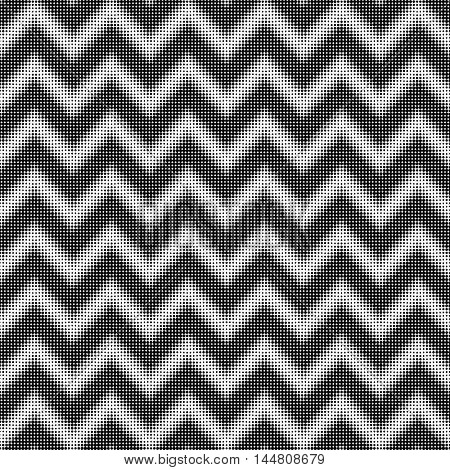 seamless halftone zigzag black and white pattern