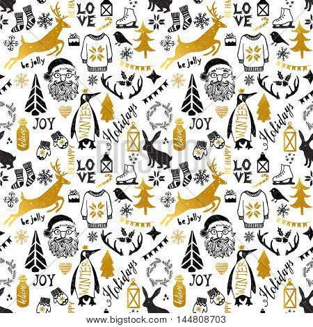 Hand drawn black and golden Christmas seamless pattern