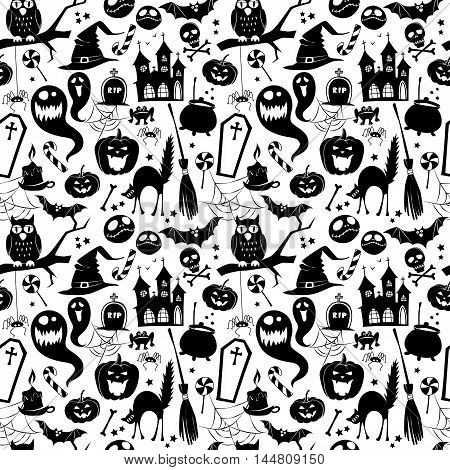 Black And White Seamless Background Abstract Pattern For Halloween With Pumpkin,  Candy, Ghost, Spid
